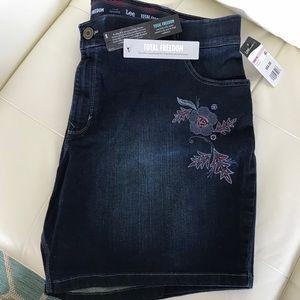 Lee Platinum Plus Size Embroidered Denim Shorts